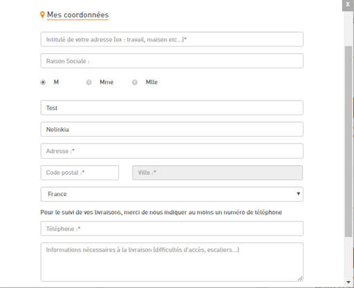 Informations modifications adresse