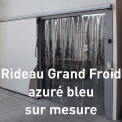 Rideau à lanières PVC Grand Froid azuré bleu - Sur mesure