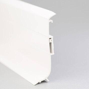Plinthe PVC gris-blanc à lèvres souples vue de côté