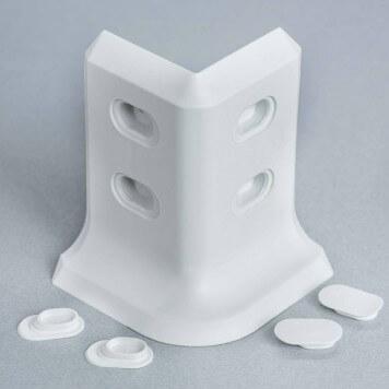 Angle externe gris-blanc 2D pour plinthe à lèvres souples