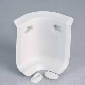 Angle interne gris-blanc 3D pour plinthe à lèvres souples