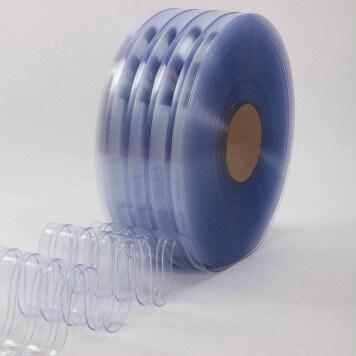 Rouleau 50m lanière PVC Grand Froid nervuré azuré bleu 200mm x 6mm