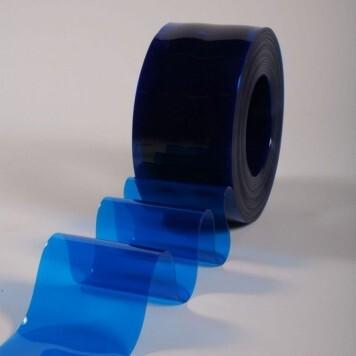 Rouleau 50m  lanière PVC Standard bleu transparent 200mm x 2mm