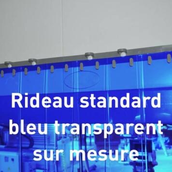 Rideau standard bleu transparent sur mesure