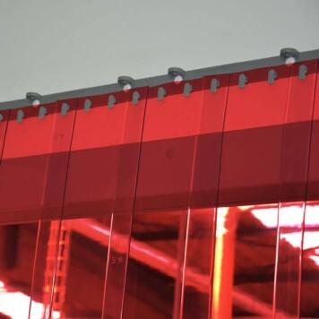 Rideau standard rouge transparent recouvrement 50%