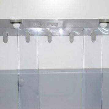 Rideau /à lani/ères en PVC Rideau industriel /à lani/ères 3x300mm protection contre les /&eacu compl/ètement pr/é-assembl/é r/ésistant aux intemp/éries transparent rails de montage galvanis/és