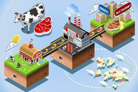 Schema illustrant la traçabilité alimentaire dans le milieux agroalimentaire